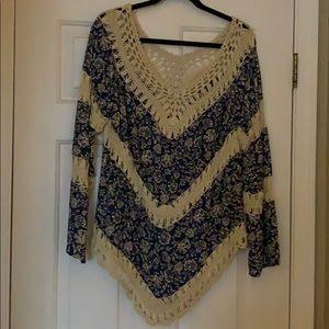 Knit V neck long sleeve